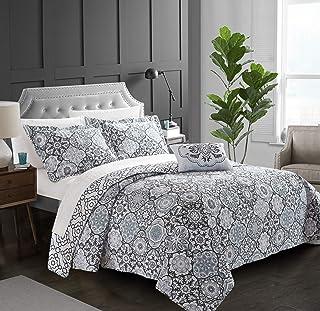 Chic Home Angel 3 Piece Reversible Quilt Cover Set 100% Cotton Bohemian Geometric Print, Twin Black