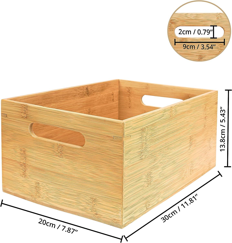 Kurtzy Bambus Box Ordnungsbox Holz mit Griffen – 20 x 20 x 20,20cm  Aufbewahrungsbox Bambus Holzbox ohne Deckel für Zuhause, Büro, Küche, Bad –  Kisten ...