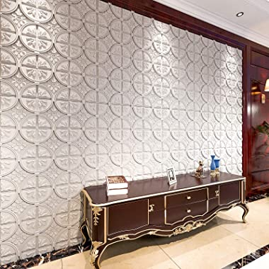 Art3d Drop Ceiling Tiles 2x2, Glue-up Ceiling Panel, Fancy Classic Style in White
