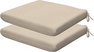 Honeycomb Indoor/Outdoor Textured Solid Almond Universal Seat Cushions: Recycled Polyester Fill, Weather Resistant, Pack of 2 Patio Cushions: 18