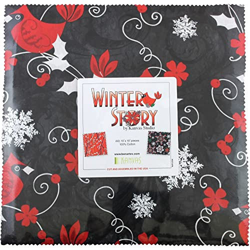 "Moda WINTER VILLAGE Basic Grey Quilt Fabric LAYER CAKE 42 10/"" Squares CHRISTMAS"