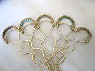 hand hammered brass hairpin with gemstone detail and wire wrapping in 14k gold fill.