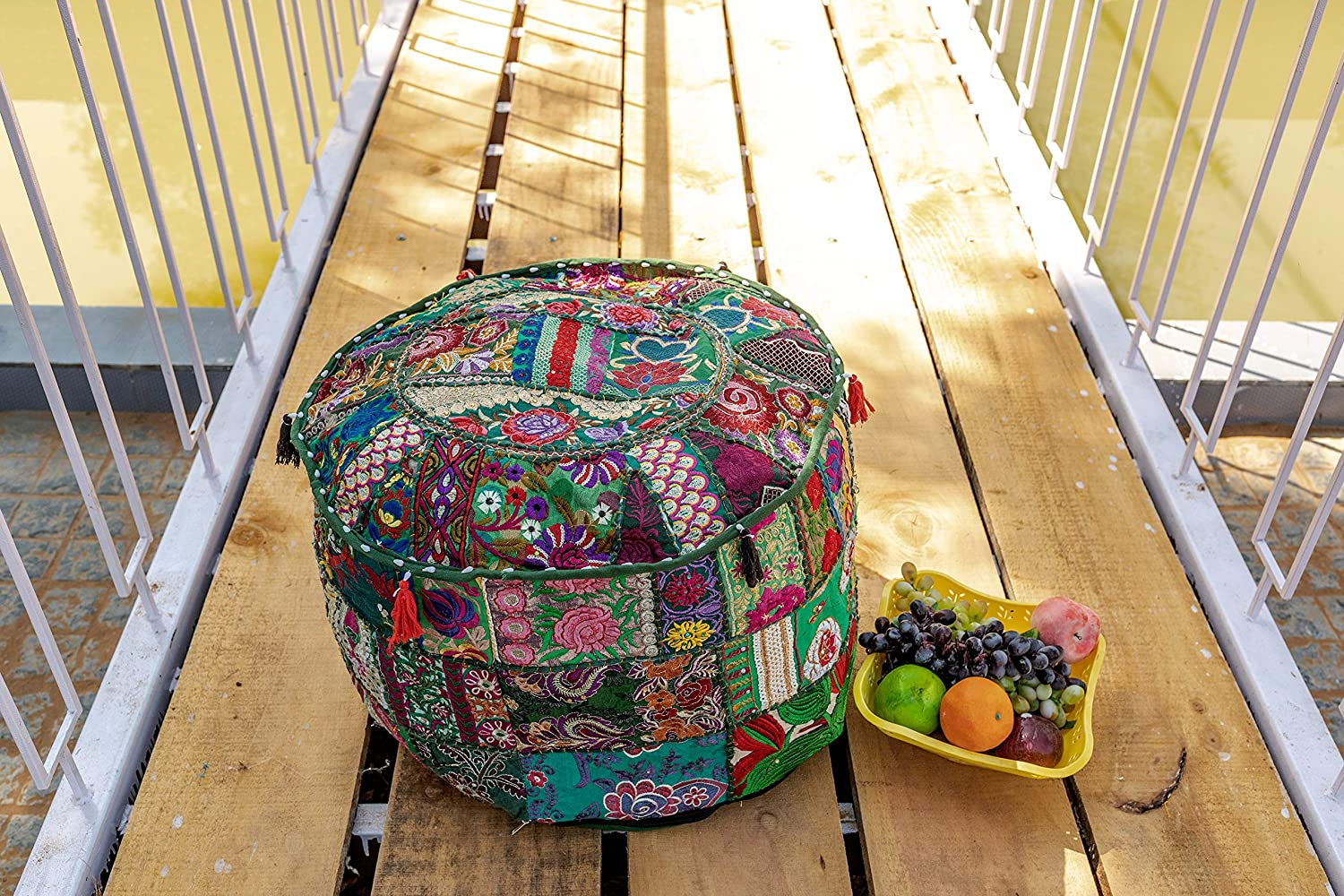 THE ART Limited time cheap sale BOX Cotton San Jose Mall Patchwork Vintage S Boho Bean Bag Embroidered