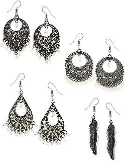 Zaveri Pearls Chand Bali Earrings for Women (Silver) (ZPFK6487)