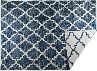 DII CAMZ10419 Indoor Flatweave Cotton Handloomed Yarn Dyed Woven Reversible Area Rug for Bedroom, Living Room, Kitchen, 4x6', Lattice Blue