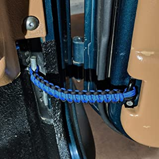 Reversible Paracord Jeep Wrangler CJ,YJ,TJ,JK,JL Door Straps - Black and Royal Blue