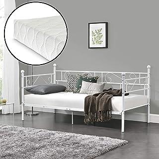 [en.casa] Divan en Acier Lit Double avec Matela Öko-Tex Standard 100 209 x 96,5 x 100 cm Blanc