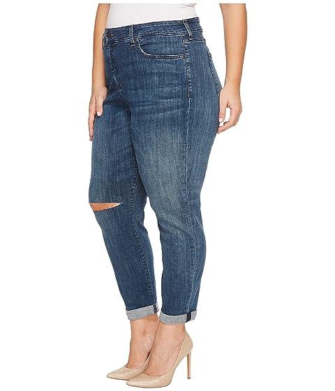 Slit Newton Girlfriend with Crosshatch Size NYDJ Knee in in Plus Plus Jeans Denim Size wIOnqR8g