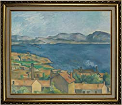 Historic Art Gallery The The Bay of Marseilles, Seen from L'Estaque 1885 by Paul Cezanne Framed Canvas Print, Size 20x24, Gold