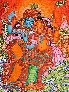 Radha and Krishna on Swing: Kerala Folk Style - Kerala Mural