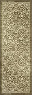 Maples Rugs Runner Rug - Pelham 2' x 6' Non Skid Hallway Entry Rugs Runner [Made in USA] for Kitchen and Entryway, Khaki