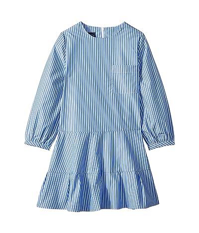 Oscar de la Renta Childrenswear Long Sleeve Tie Bow Front Dress (Little Kids/Big Kids) (Cornflower Blue) Girl