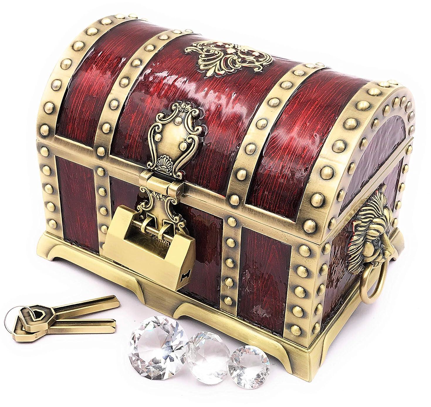不確実バイオリン起訴するまるで海賊の宝箱 アンティーク 宝石箱 ジュエリーボックス レトロな鍵と水晶ダイヤ3種付き 小物入れ インテリア 置物 オブジェ プレゼント ドラクエ 宝箱 宝石 レトロ (濃い赤,大)