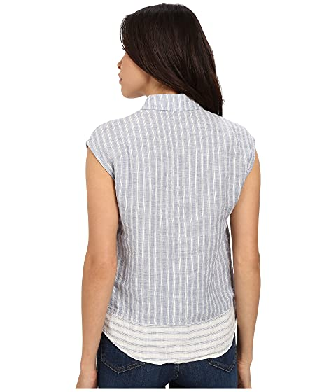 Jeans Top Up Stripe Button Mavi Linen vqCdd