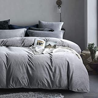 NTBAY Velvet Flannel Duvet Cover Set, 3 Pieces Zippered Comforter Cover Set, Queen, Grey