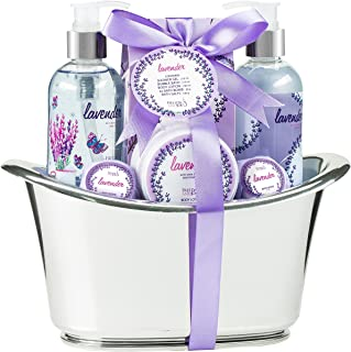 Luxury Aromatherapy Lavender Essentials Spa Gift Set for Women in Large Silver Tub. Bath Gift Set Includes 2 Bath Bombs, Body Lotion, Bath Salts, Shower Gel, and Bubble Bath