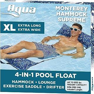 Aqua 4-in-1 Monterey Hammock Supreme XL (Longer/Wider), Resort Ultra Soft Fabric, Multi-Purpose Adult Pool Float (Saddle, Lounge Chair, Hammock, Drifter), Water Hammock, Orchid Blue