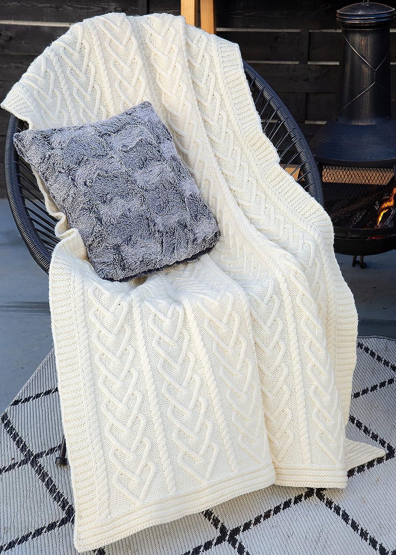 SAOL Irish Aran Throw Blanket Heart latest Meri 100% Soft Pattern Today's only Super