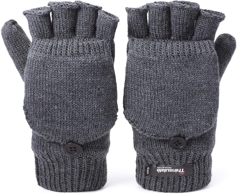 Winter Convertible Mittens Thinsulate Insulation Fleece Lined Knit Half Fingerless Gloves with Mitten Cover for Men & Women