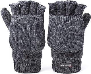 Flammi Men's Warm Knit Half Fingerless Gloves with Mitten Flap Thinsulate Fleece lined