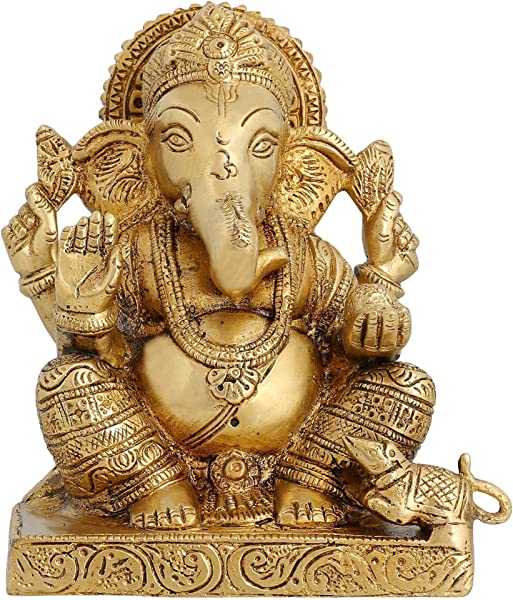 Hindu God Ganesha Brass Statue Religious Gifts For Mom Hinduism Decor 6 5 Inch 1 99 Kg