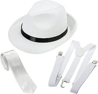 Gangster Costume Hat, Suspenders and Tie Set Roaring 20s Accessories