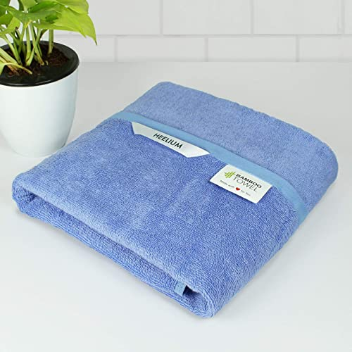 Heelium Lightweight 400 GSM Quick Dry Bamboo Towel Travel Sports Home Odour Free High Absorbency Ultra Soft Large Bath Size 140 x 70 cm Iris 1 Piece