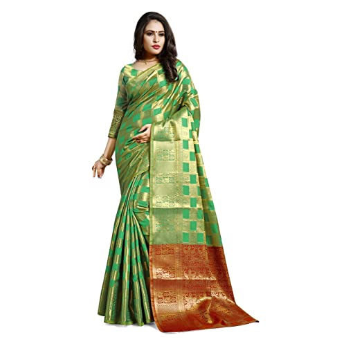 c2a429a143bff1 Ruchika Fashion Women's Kanjivaram Silk Saree with Blouse  Piece(Mimosa-Variations_Rama_Free Size)