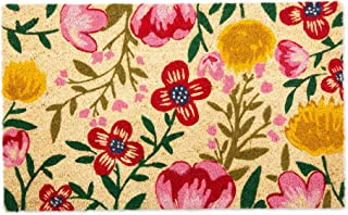 """DII Floral Design Collection Natural Coir Doormat, 18x30"""", Bright Blossom"""