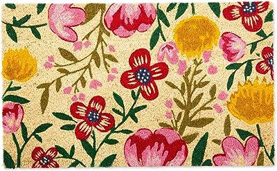 DII Indoor/Outdoor Natural Coir Fiber Spring/Summer Doormat, 18x30, Bright Blossom