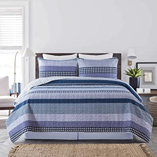 Soul & Lane Striped Synergy 3-Piece Bedding Quilt Set - King with 2 Shams   Modern Blue Stripes Quilted Bedspread