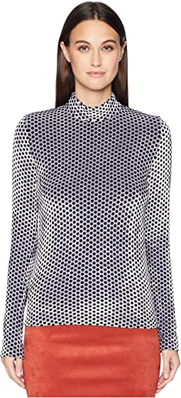 Saint Germain Velours Polka Dot Crew Neck Sweater