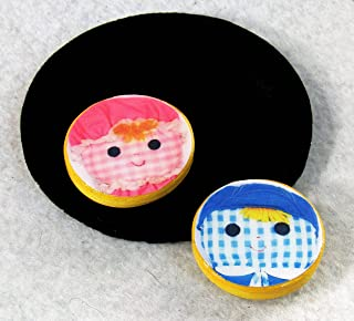 1.25 inch Art Photo Refrigerator Magnets Set Lolly Cholly Boy Girl Dolls Original Photography of Vintage Fisher Price Toys Kitschy Kitchen Decor Round Ceramic Clay Pink Blue Gingham