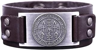 VASSAGO Vintage Amulet Key of Solomon The Sigil of Archangel Uriel Metal Connector Leather Bracelet