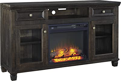 3e604387d980f0 Townsty Traditional Grayish Brown Wood TV Stand With Fireplace Insert