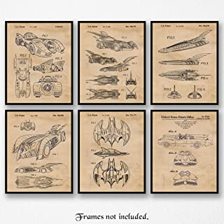Vintage Batman Land, Sea, Air Patent Poster Prints, Set of 6 (8x10) Unframed Photos, Wall Art Decor Gifts Under 25 for Home, Office, Garage, Man Cave, College Student, Teacher, Comic-Con & Movies Fan