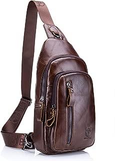 Sling Bag, BULLCAPTAIN Leather Chest Bag Crossbody Shoulder Business Backpack Outdoor
