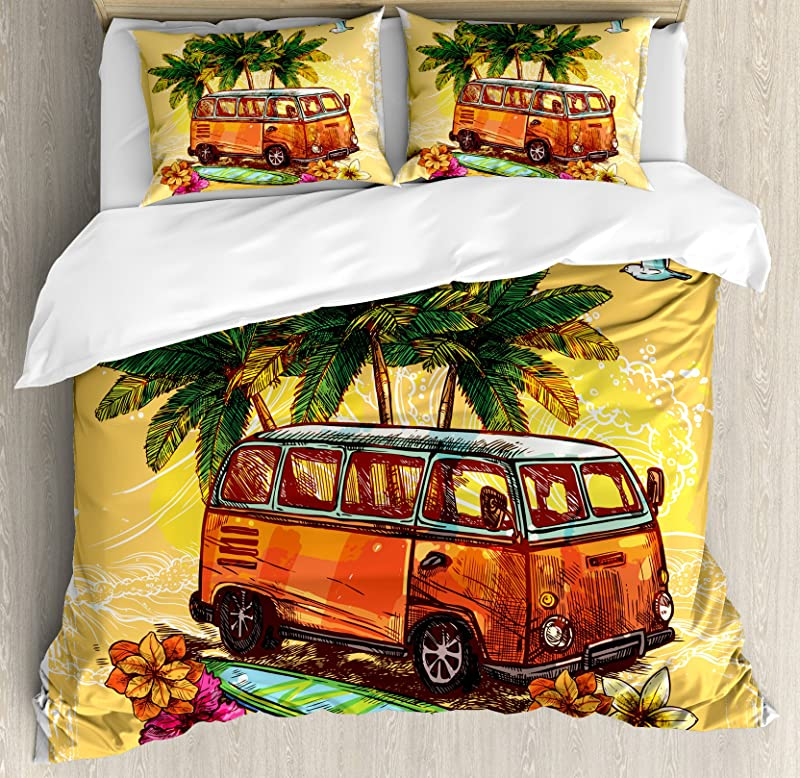 Ambesonne Surf Duvet Cover Set Hippie Classic Old Bus With Surfboard Freedom Holiday Exotic Life Sketchy Art Decorative 3 Piece Bedding Set With 2 Pillow Shams Queen Size Yellow Orange