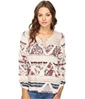 Brigitte Bailey - Gizela Long Sleeve Printed Top with Lace