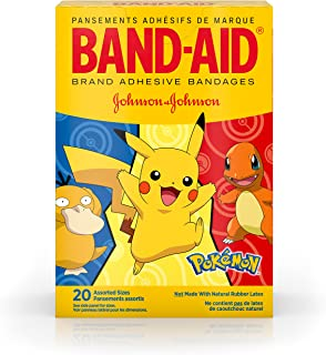 Band-Aid Brand Adhesive Bandages for Minor Cuts & Scrapes, Wound Care Featuring Pok�mon Characters for Kids, Assorted Sizes 20 ct