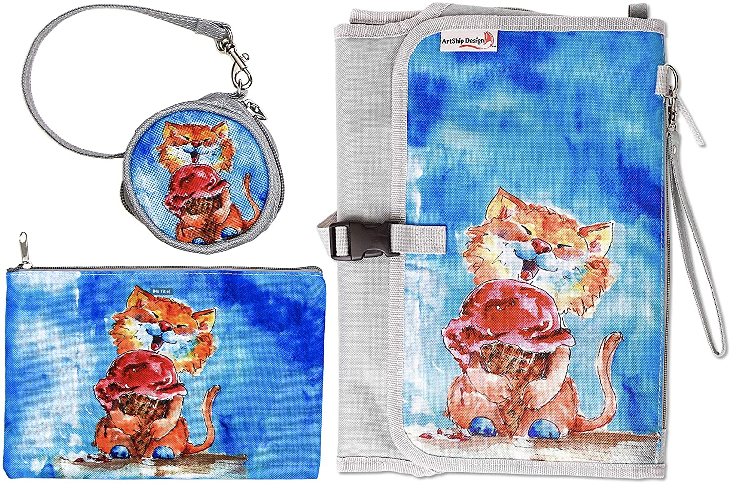 Portable Baby Diaper Changing Pad Station Clutch with Matching Pacifier and Toy Case Strap and Pouch Bag (Special Edition Kitty Cat)