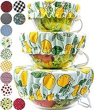 Handmade Reusable Cotton Fabric Bowl Covers - Set of 3 (Lemon)