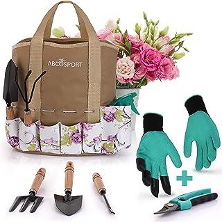 مجموعه ابزارهای باغ - کیت باغبانی 9 تکه - حمل آسان کیسه حمل - طرح گل بسیار زیبا - دسته چوبی ارگونومیک - وظیفه سنگین - دستکش و برش جایزه - ماشین قابل شستشو - عالی به عنوان هدیه