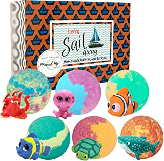 Bath Bombs for Kids with surprise toys inside - Organic bubble bath bomb gift set w/educational sea animal toy - Spa bath ball w/moisturizing Shea Butter for girls and boys - Christmas gifts for kids