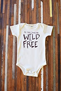Organic Baby Onesie - Baby One Piece - Organic Cotton Onesie - Wild and Free - Organic Baby Clothes - Baby Shirt - Onesie