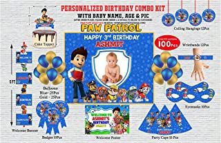 WoW Party Studio Personalized Paw Patrol Theme Birthday Party Supplies with Birthday Boy/Girl Name - Combo Kit #1
