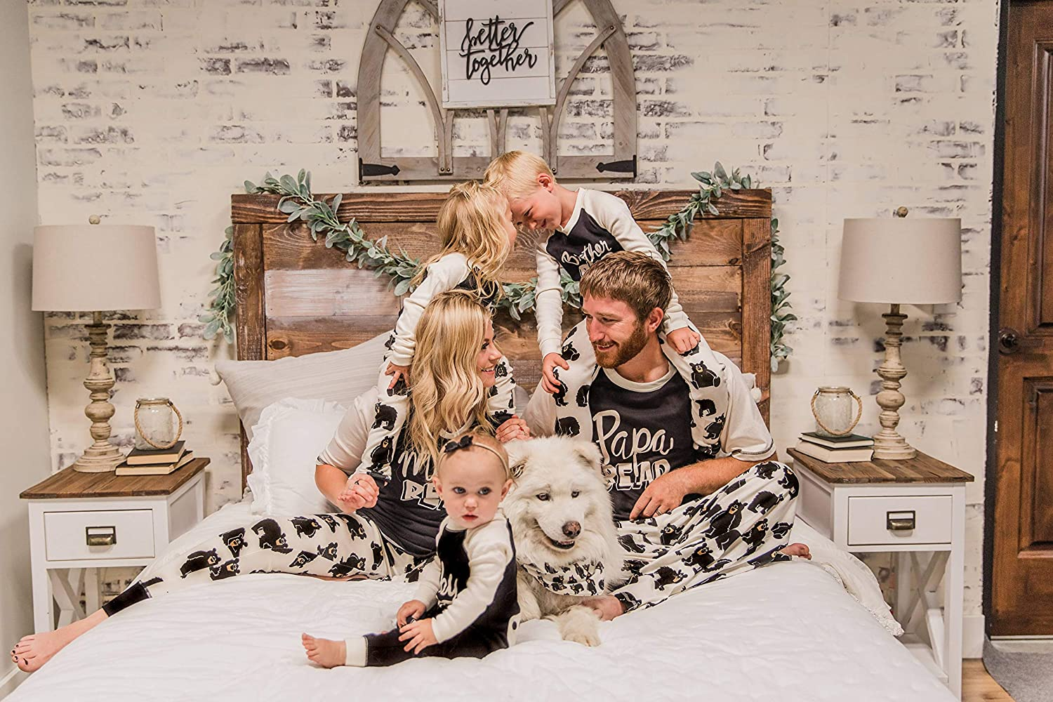 Family Bear and The Dog Kids Lazy One Matching Family Pajama Sets for Adults