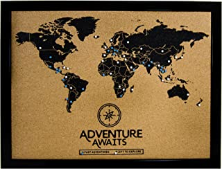 Cork Board World Travel Map with Pins | Inspirational Wall Art to Track Past and Future Travel