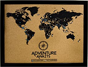 Cork Board World Travel Map with Pins   Inspirational Wall Art to Track Past and Future Travel