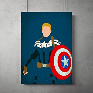 Captain America minimalist Poster, Superhero minimalist prints, Captain America room decor, All Prints avialable in 9 SIZES and 3 type of MATERIALS